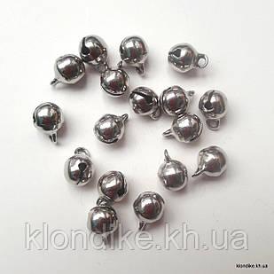 Бубенчики, Металлические, 6×7 мм, Цвет: Платина (20 шт.)