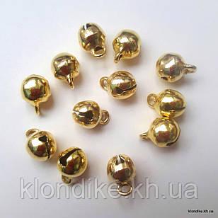 Бубенчики, Металлические, 6×7 мм, Цвет: Золото (20 шт.)