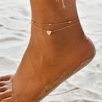 Жіночий золотий браслет на ногу код 1670