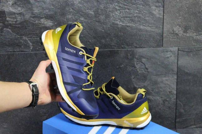 Кроссовки мужские синие с золотом Adidas Terrex Boost 4622, фото 2