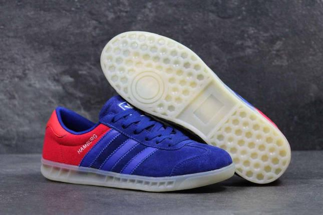Кроссовки мужские синие с красным Adidas Humburg 5636, фото 2