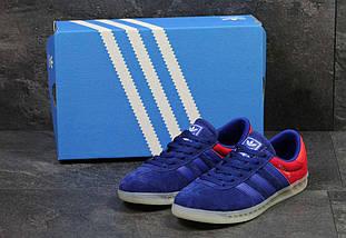 Кроссовки мужские синие с красным Adidas Humburg 5636, фото 3