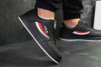 Кроссовки мужские черно-белые с красным Fila 6377, фото 2