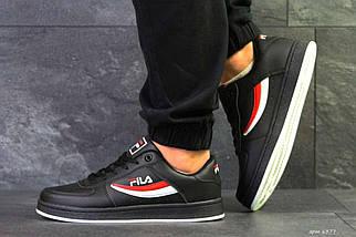 Кроссовки мужские черно-белые с красным Fila 6377, фото 3