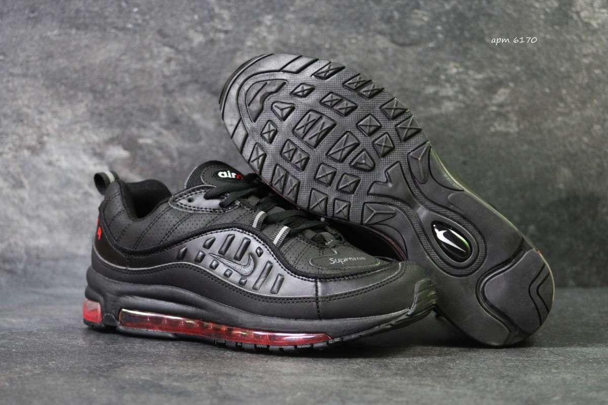 Кроссовки мужские черно-красные Nike Air Max 98 x Supreme 6170