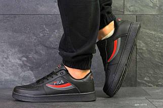 Кроссовки мужские черно-серые с красным Fila 6378, фото 2