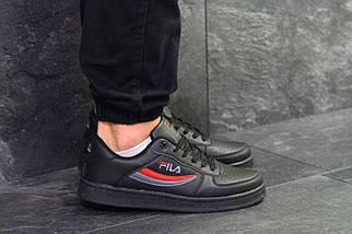 Кроссовки мужские черно-серые с красным Fila 6378, фото 3
