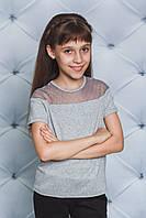 Блуза трикотажная для девочки серая