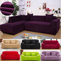 Чехол на Угловой диван эластичный замшевый HomyTex Фиолетовый Синий Шоколад Красный