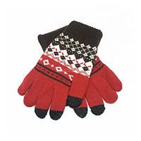 Перчатки для сенсорных экранов Touch Gloves with ornament Black/Red