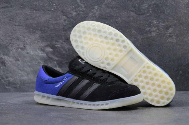 Кроссовки мужские черные с синим Adidas Humburg 5634, фото 2
