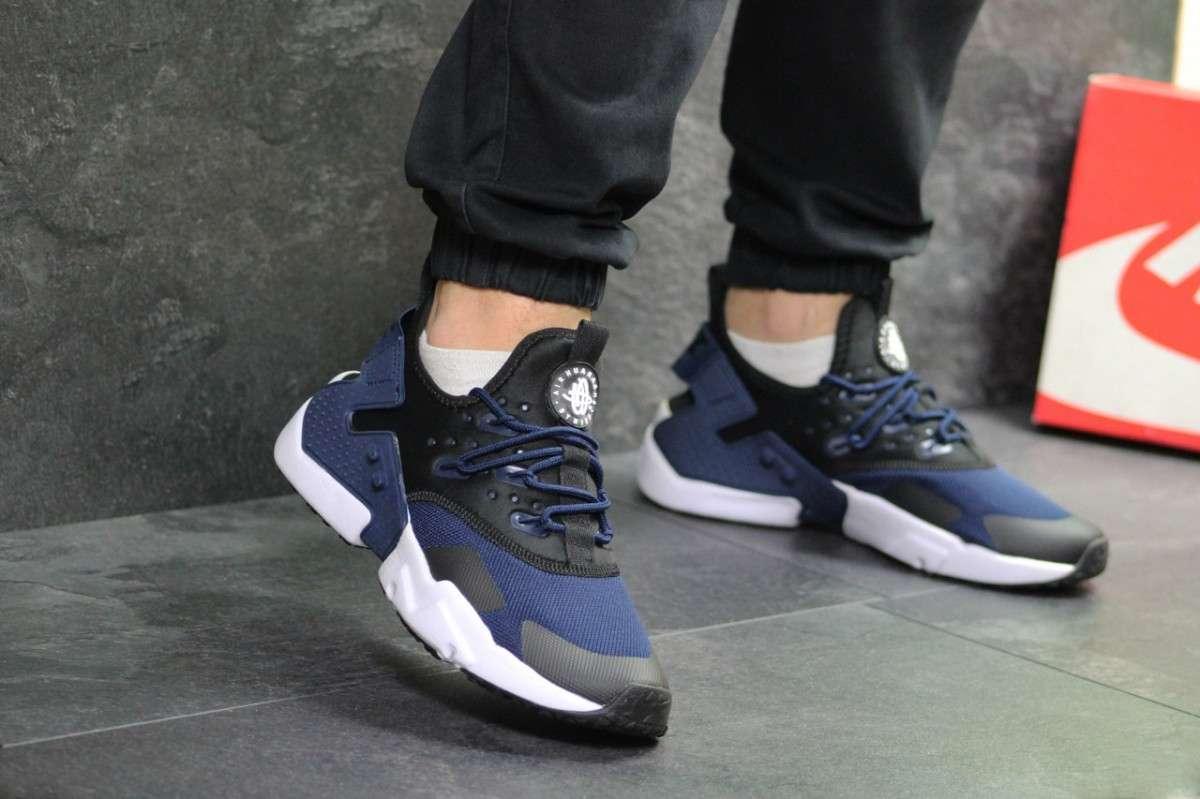 Кроссовки мужские черные с синим Nike Air Huarache 7108