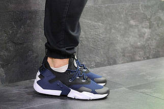 Кроссовки мужские черные с синим Nike Air Huarache 7108, фото 3