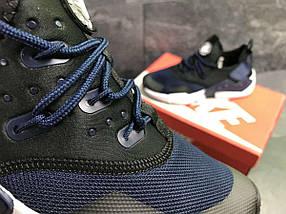 Кроссовки мужские черные с синим Nike Air Huarache 7108, фото 2