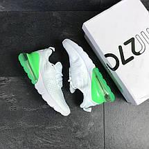Мужские кроссовки белые с зеленым Nike Air Max 270 7808, фото 2