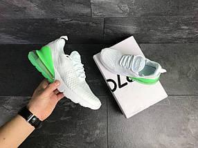 Мужские кроссовки белые с зеленым Nike Air Max 270 7808, фото 3