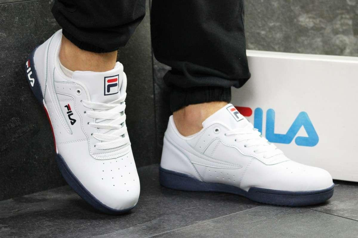 Мужские кроссовки белые с темно синим Fila РП-6333