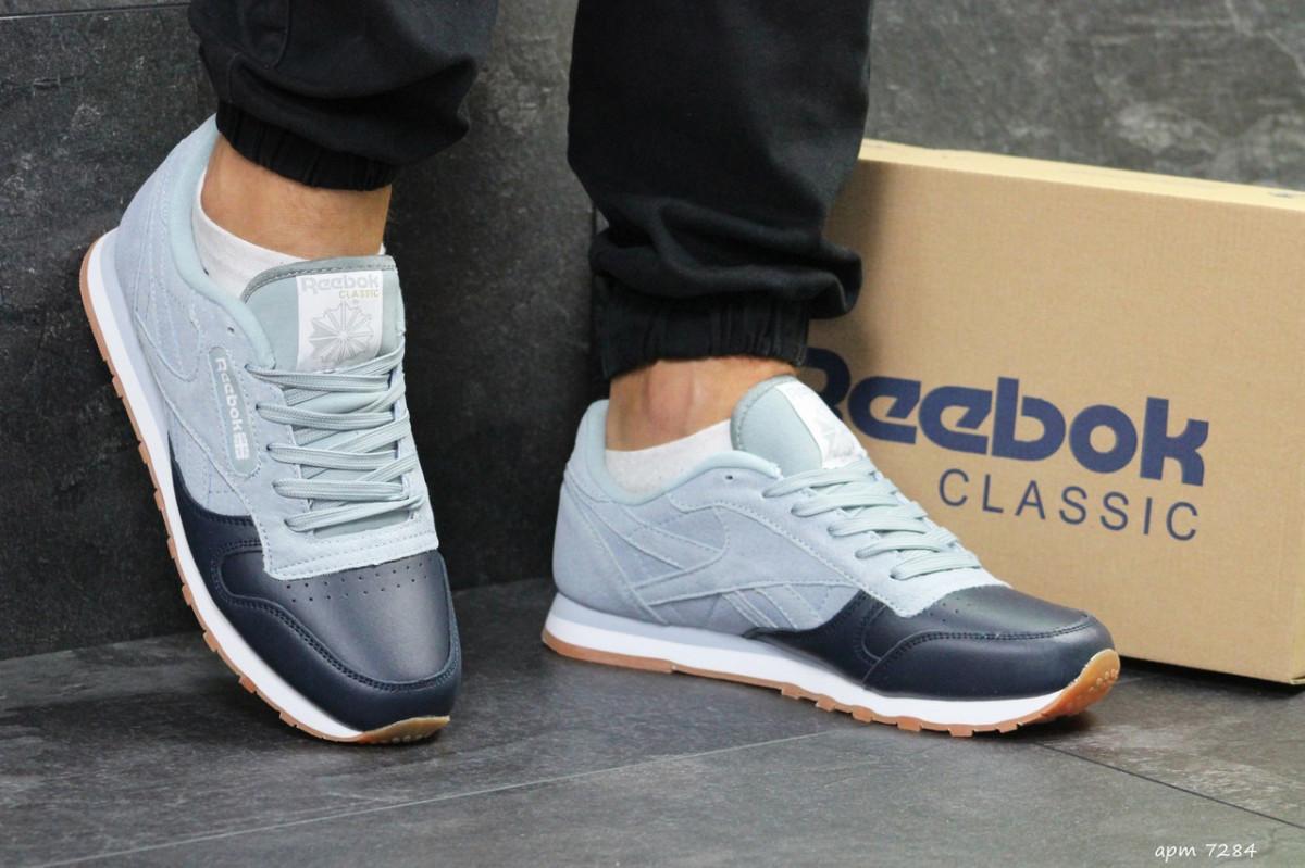 Мужские кроссовки темно серые с серо голубым Reebok 7284