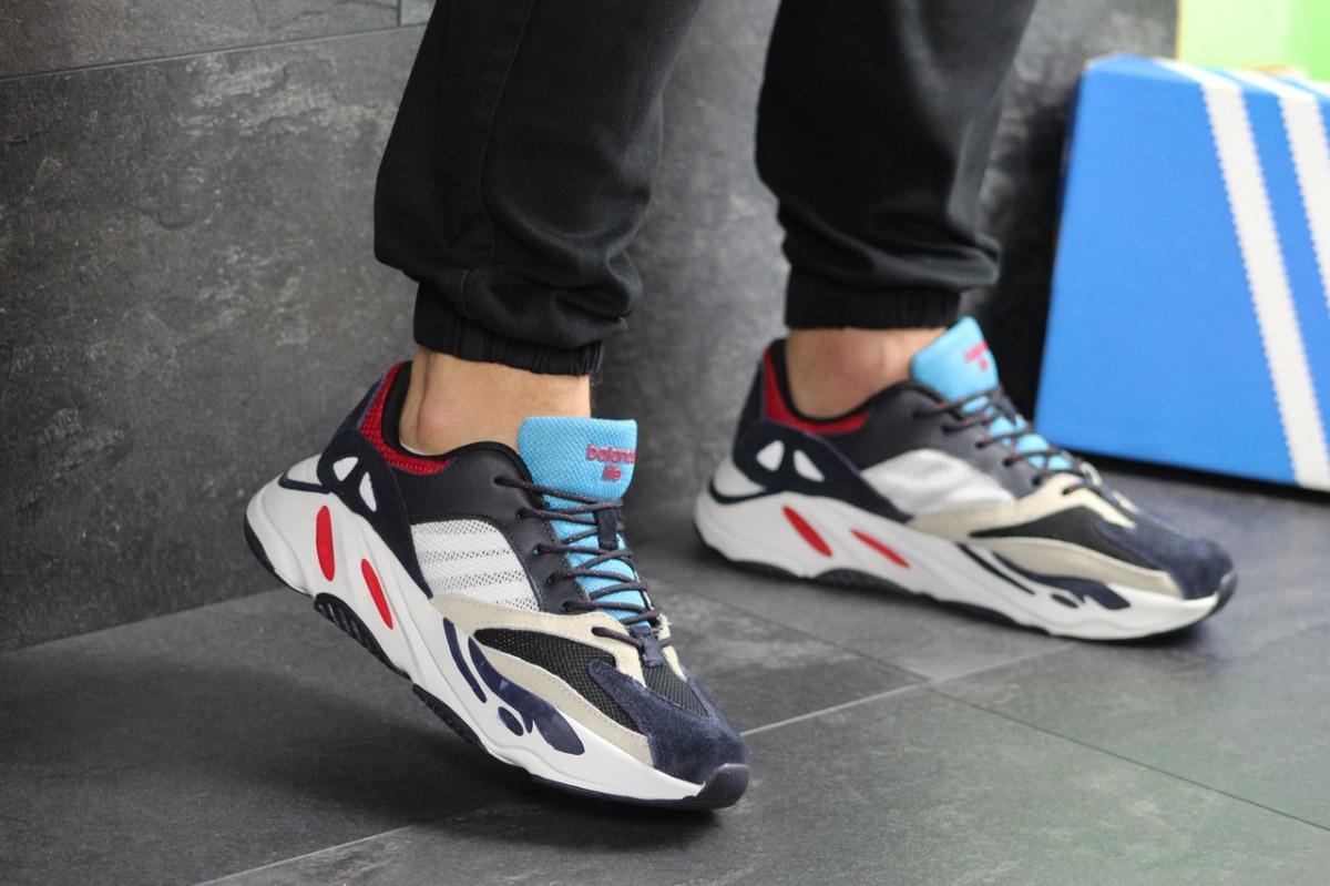 Мужские кроссовки темно синие с белым Adidas balance life 7835