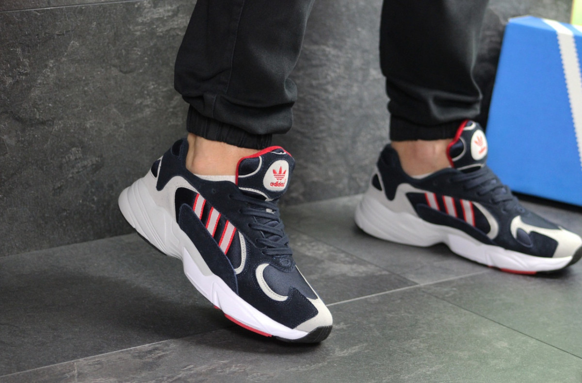 Мужские кроссовки темно синие с белым и красным Adidas Yung 7596