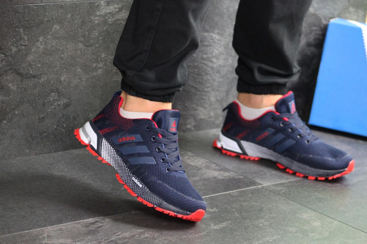 Мужские кроссовки темно синие с красным Adidas Marathon 7661