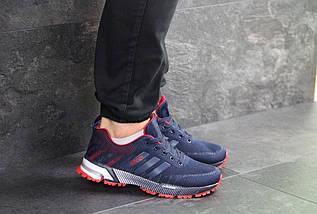 Мужские кроссовки темно синие с красным Adidas Marathon 7661, фото 3