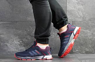 Мужские кроссовки темно синие с красным Adidas Marathon 7661, фото 2