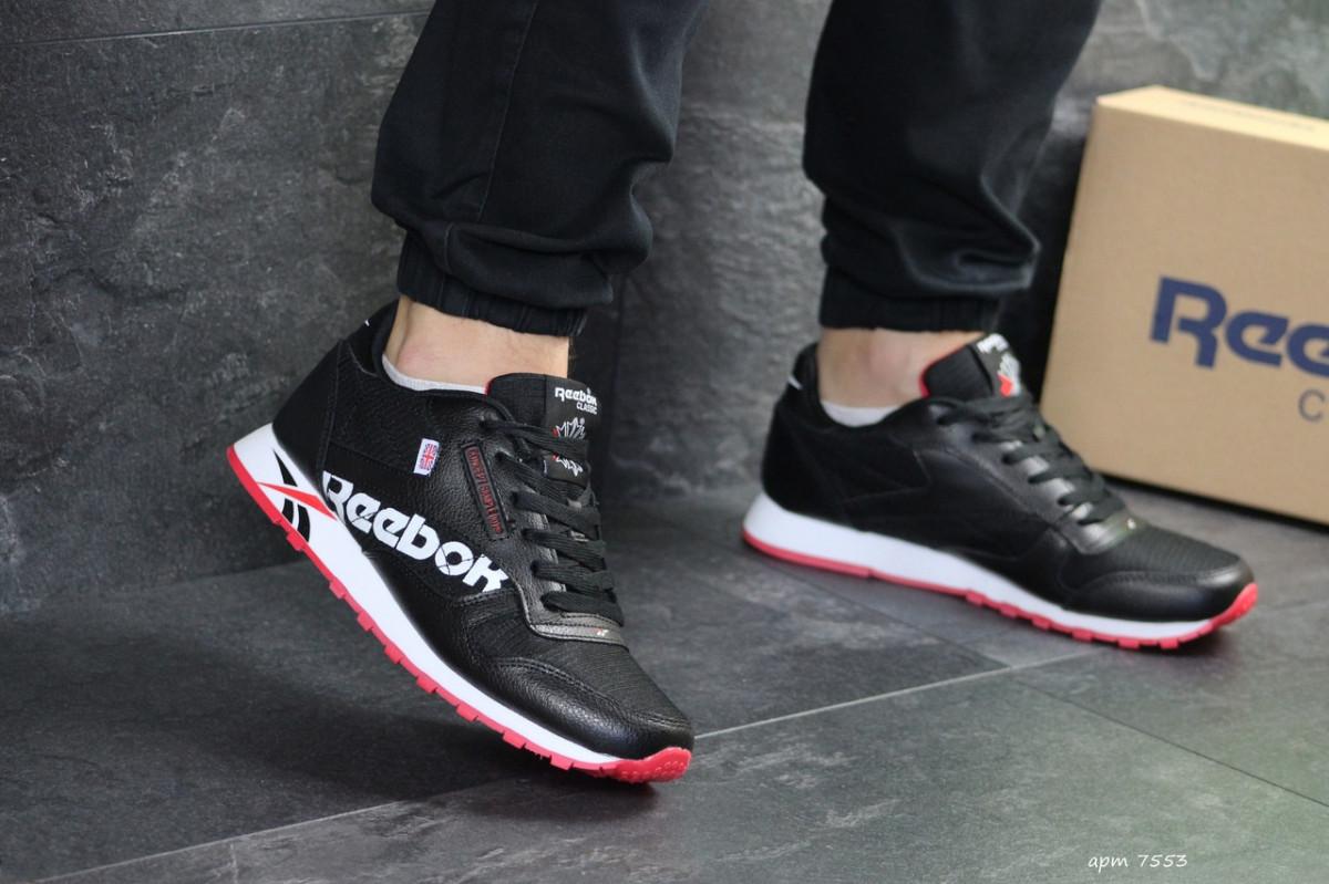 Мужские кроссовки черно белые с красным Reebok 7553