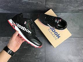 Мужские кроссовки черно белые с красным Reebok 7553, фото 3