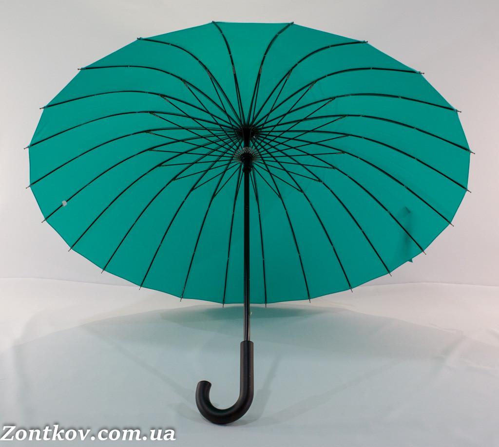 """Однотонный зонтик трость на 24 спицы от фирмы """"Flagman""""."""