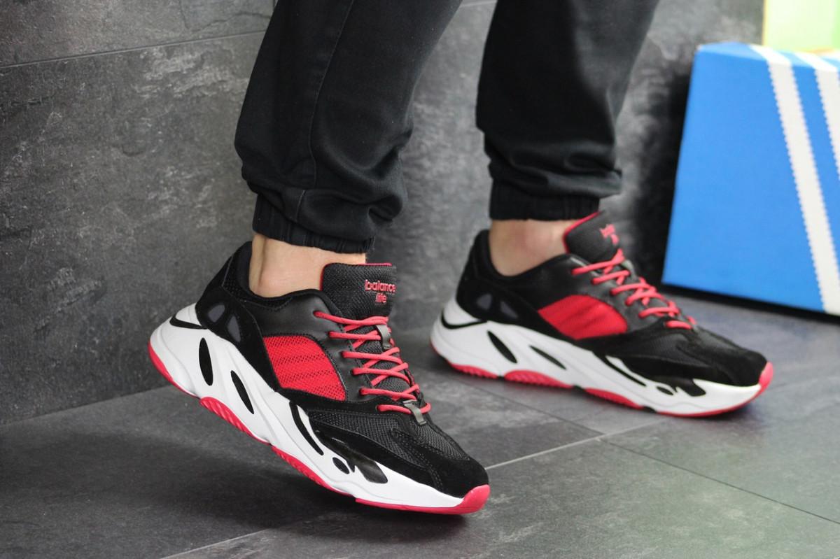 Мужские кроссовки черно-красные Adidas balance life 7838