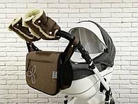 Комплект сумка и рукавички на коляску Ok Style Цветок  Лен (Коричневый), фото 1