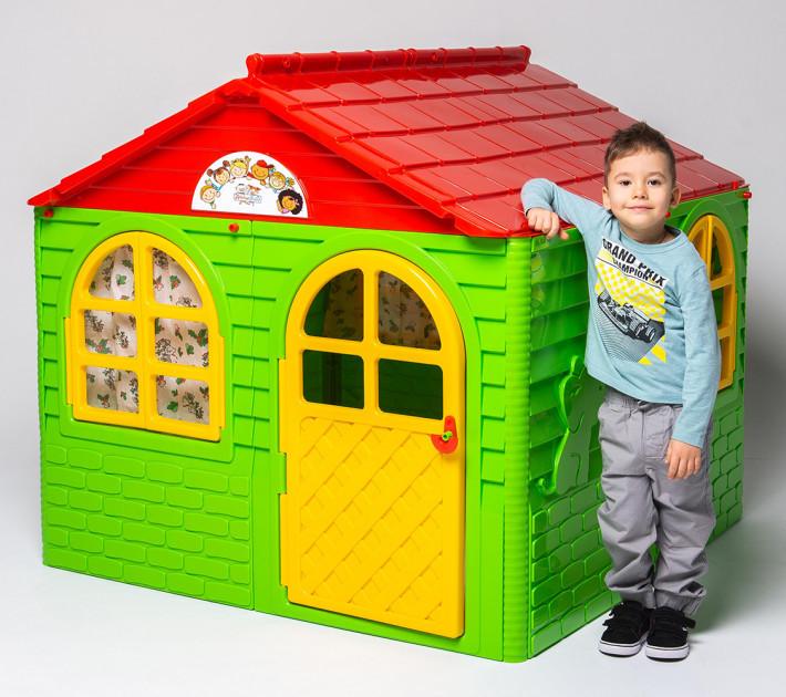 Детский пластиковый домик (Зелено-красный) 02550/3