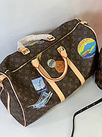 Дорожная сумка LV KEEPALL 55 см с плечевым ремнем коричневая (реплика), фото 1