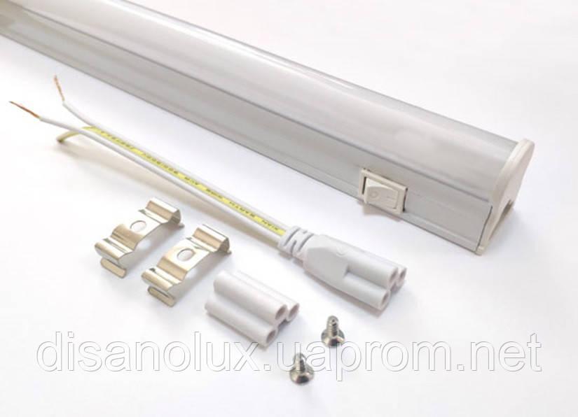 Светодиодный светильник T5, 30см, 5W,4000К с выкл IP20