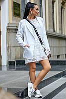 Классический белый пиджак с отложным воротником 3554 (44–50р)