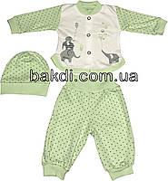Детский костюм рост 56 (0-2 мес.) интерлок салатовый на мальчика/девочку (комплект на выписку) для новорожденных С-906