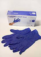 """Рукавички нітрилові оглядові нестерильні неприпудрені CEROS® """"FINGERS Cobalt Blue"""" розмір M"""