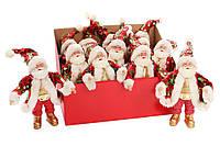 """Мягкая новогодняя фигура-игрушка, подвеска """"Санта Клаус"""" красный с паетками, набор 12 шт"""
