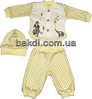 Детский костюм рост 56 (0-2 мес.) интерлок жёлтый на мальчика/девочку (комплект на выписку) для новорожденных Ж-906