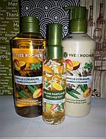 Набор: гель для ванны и душа, спрей для тела и волос, молочко для тела манго-кориандр ив роше yves rocher