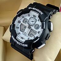 Ударопрочные, влагозащищенные, спортивные наручные часы Casio G-Shock черного цвета белый циферблат