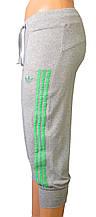 Капрі спортивні жіночі (трикотаж) зелені лампаси
