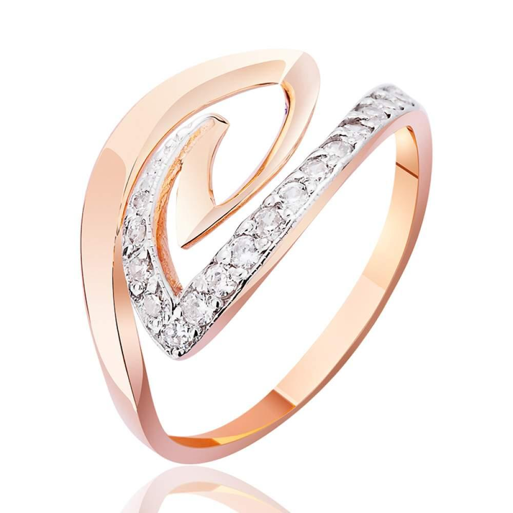 Золотое кольцо с цирконами, КД0392 Эдем