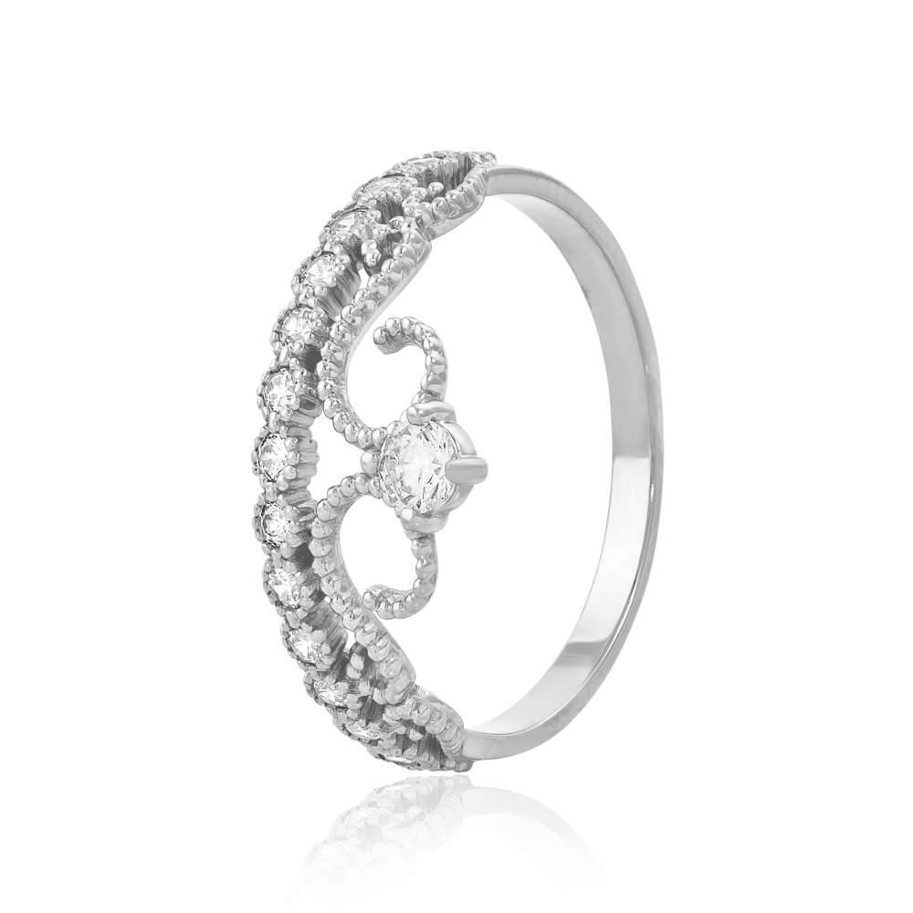 """Кольцо  с камнем SWAROVSKI Zirconia """"Корона для принцессы"""", белое золото, КД4155/1SW Eurogold"""
