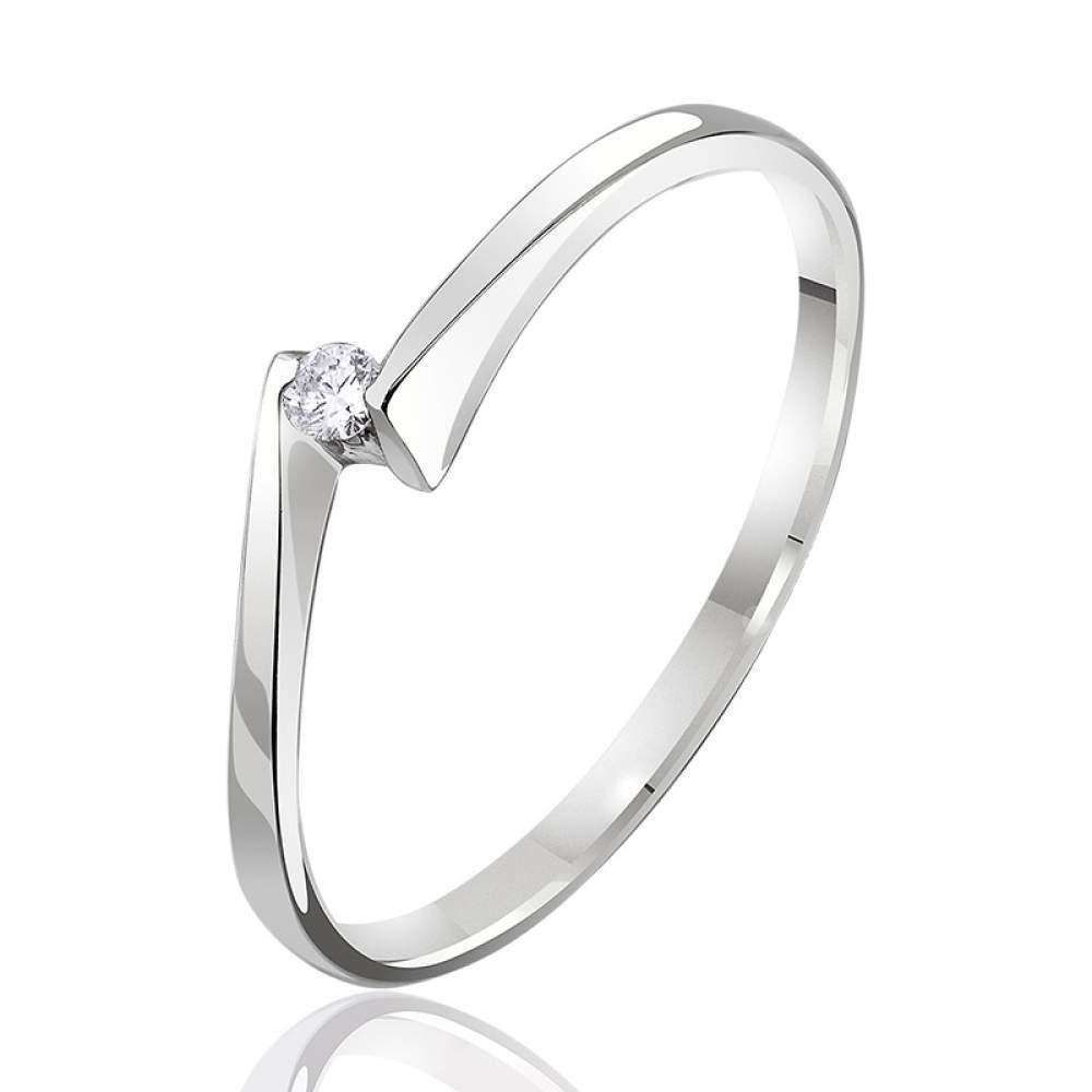 """Кольцо из белого золота с бриллиантом """"Встреча"""", КД7381/1 Eurogold"""