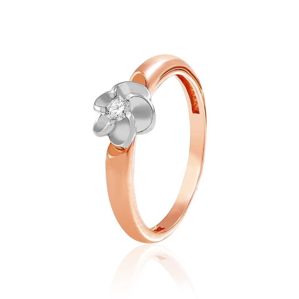 "Кольцо  с одним бриллиантом ""Райский цветок"", комбинированное золото, КД7522 Eurogold"