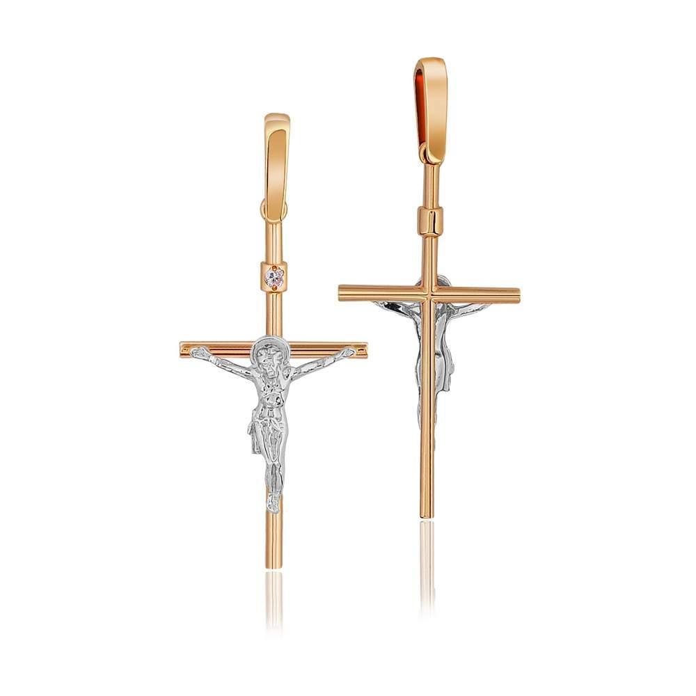 Золотой крест с бриллиантом, КР7151 Eurogold