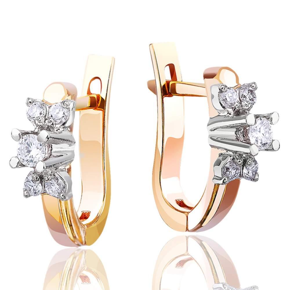 """Серьги из комбинированного золота с английским замком с бриллиантами """"Мания величия"""", С7420 Эдем"""