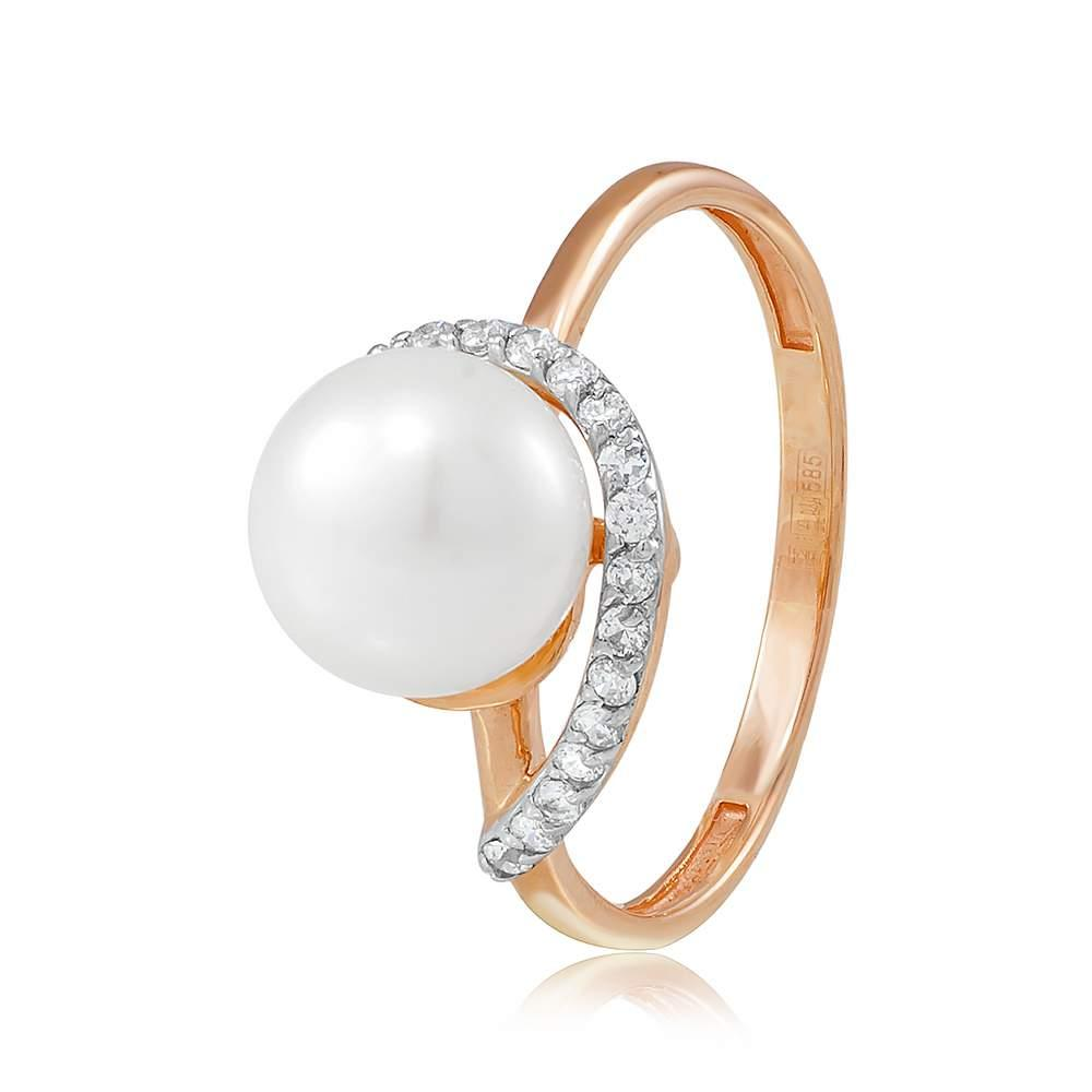 Кольцо  с жемчугом и цирконами «Сокровище морей», комбинированное золото, КД2036 Eurogold